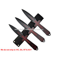 "Defender 4201-R 10"" Black & Red Throwing Knives With Sheath"