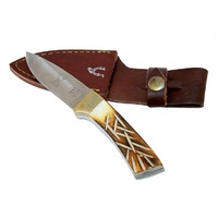 "Defender #5666 Small Drop Point 6"" Bone Handle Knife with Leather Sheath"