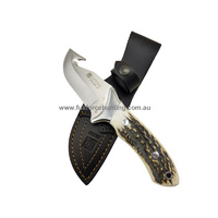 Joker 21cm Venada Stag Horn CC-05 Steel Hunting Gut Hook MV58 |Fixed Blade Hunting Knife + Full Leather Sheath
