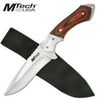 "MTech 9"" Stainless Drop Point Fixed Blade Knife MT-080 with Pakkawood Handle"