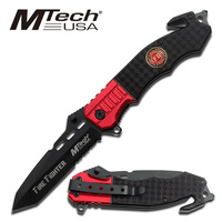 MTech MT-740FD Black Stainless Rescue Folding Knife with Pocket Clip