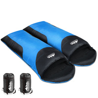 Camping Envelope Sleeping Double Bag Blue Black