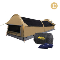 Double Camping Canvas Swag Tent Beige w/ Air Pillow