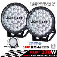 Pair 9inch 370w Cree LED Driving Light Black Spotlight Offroad HID 4x4 ATV