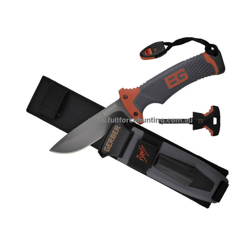 GERBER Bear Grylls - Ultimate Knife with Fixed Blade and Nylon Sheath Featuring Sharpener, Whistle, Fire Starter & Guide 31-001063