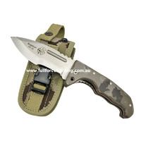J&V Adventure Knives - Raptor Camo Micarta Tactical Liner Lock Folder