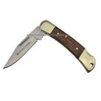 "New WINCHESTER 2.5"" Brass Wood Pocket EDC Folder Folding Knife Hunting Camping"