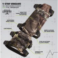 Pulse Adjustable 4 Strap Lightweight Armguard RH or LH in Mossy Oak Camo