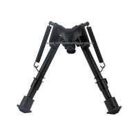 "Metal Adjustable 6"" to 9"" Rifle Bipod Black in Matte Black Finish & Full Metal Construction"