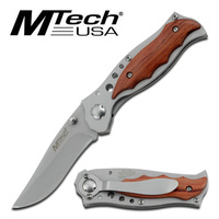 MTech MT-033S Stainless Folding Knife with Wood Inlay