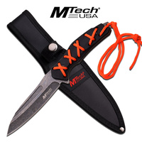 "MTech USA MT-20-65 9.75"" Stonewashed Fixed Blade with Paracord Knife"