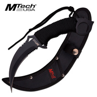MTech USA MT-20-76BK Fixed Blade Matte Black Karambit Wrapped Handle