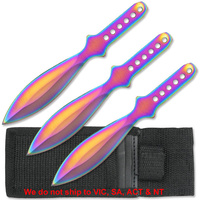 "Perfect Point RC-001RB Rainbow Titanium 6"" Throwing Knife Set"