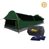 Double Camping Canvas Swag Tent Green w/ Air Pillow