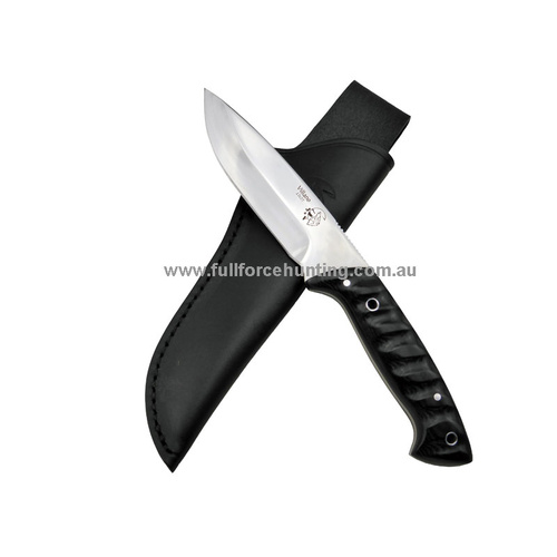 J&V Adventure Knives Villano Black Polished Fixed Blade Knife