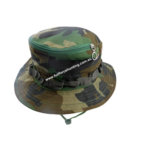 Woodland Camo Boonie Bucket Wide Brim Hat & Insect Netting
