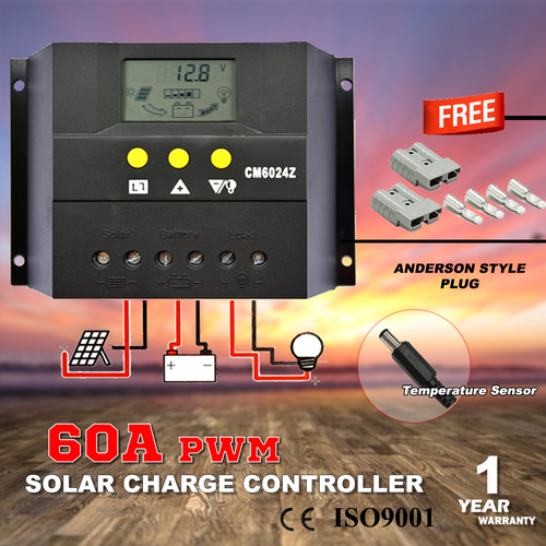 60A 12V-24V LCD Display PWM Solar Panel Regulator Charge Controller Battery